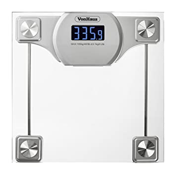 VonHaus Digital Bathroom Scale: Glass/Silver Body Weight Scale W/ LCD  Display,