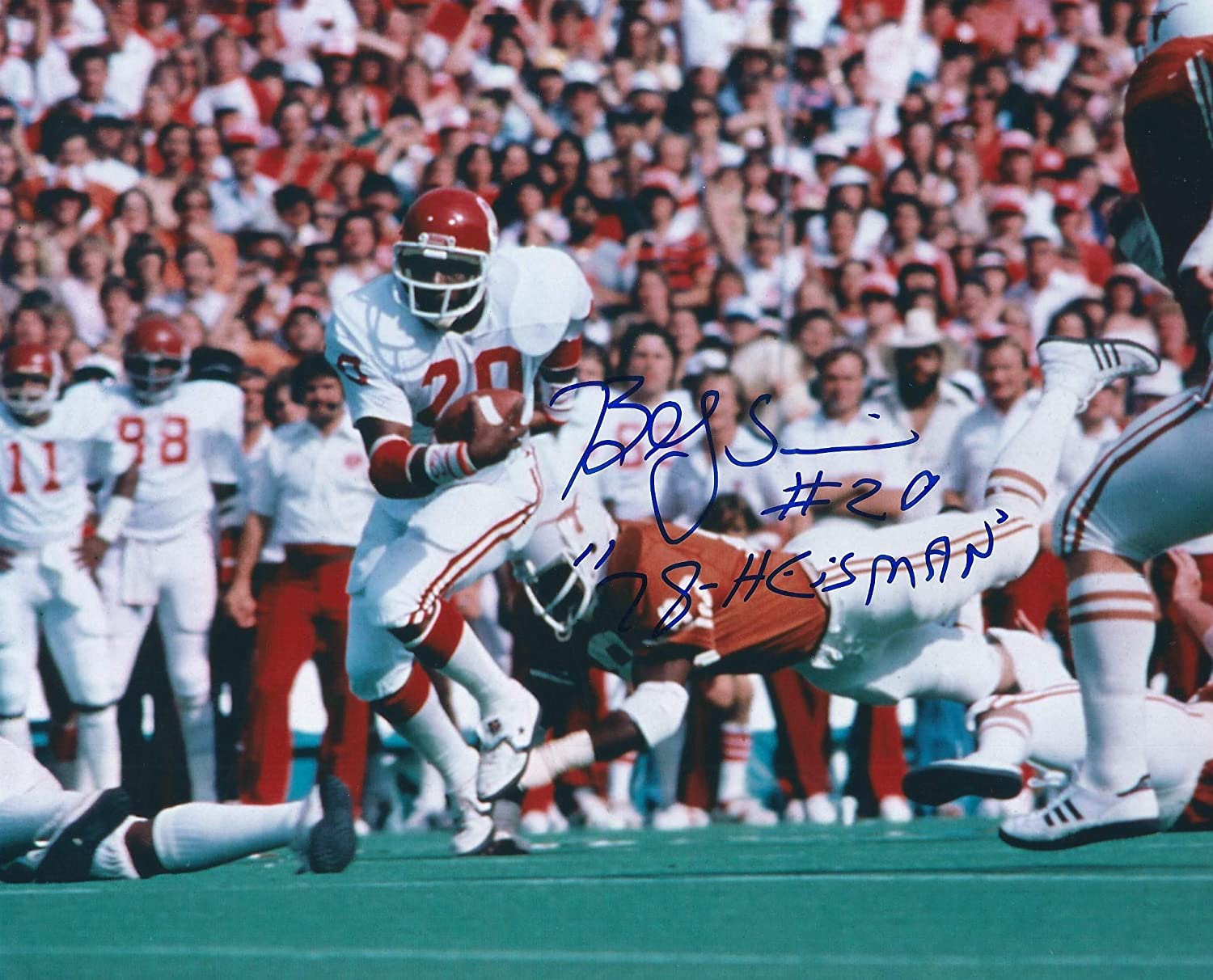 Autographed Billy Sims 8x10 Oklahoma Sooners Photo
