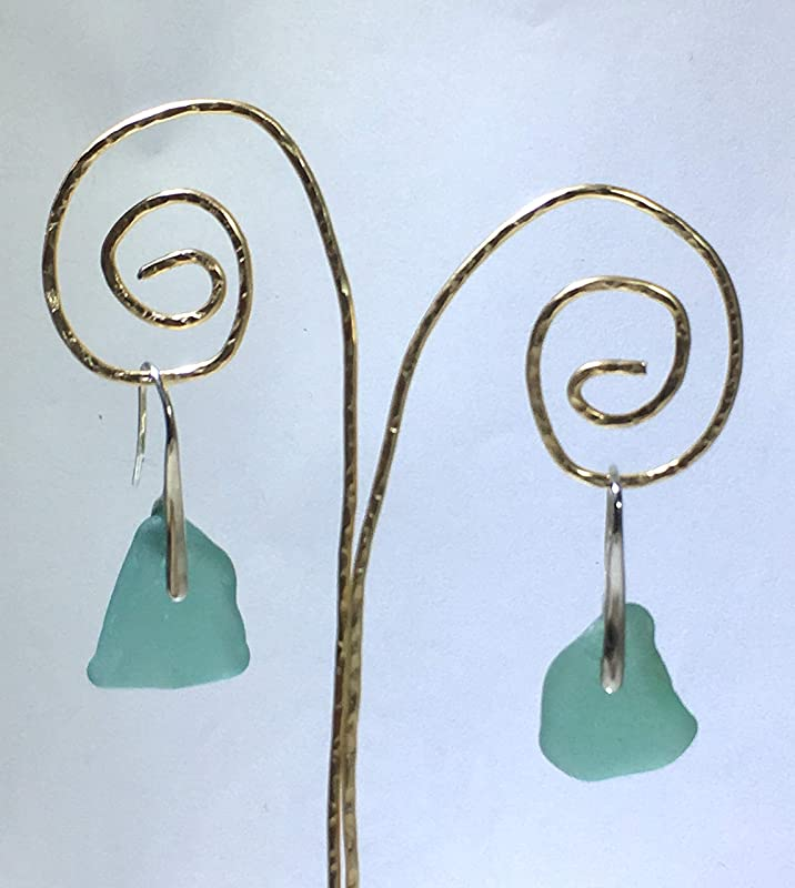 Real Genuine Authentic Beach Glass Untouched Aqua Sea Glass Dangle Drop Gold Plated Earrings One of A Kind Handmade Piece