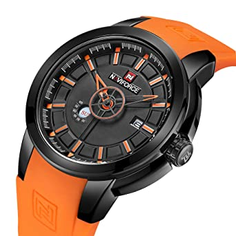 bd472b487a21b Buy Tonnier Orange Silicone Strap Date Men Quartz Sport Watch Calendar Mens  Watches Online at Low Prices in India - Amazon.in