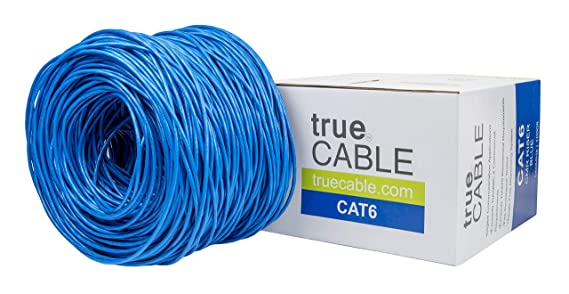 Cat6 Riser (CMR), 1000ft, Blue, 23AWG 4 Pair Solid Bare Copper, 550MHz, ETL  Listed, Unshielded Twisted Pair (UTP), Bulk Ethernet Cable, trueCABLE