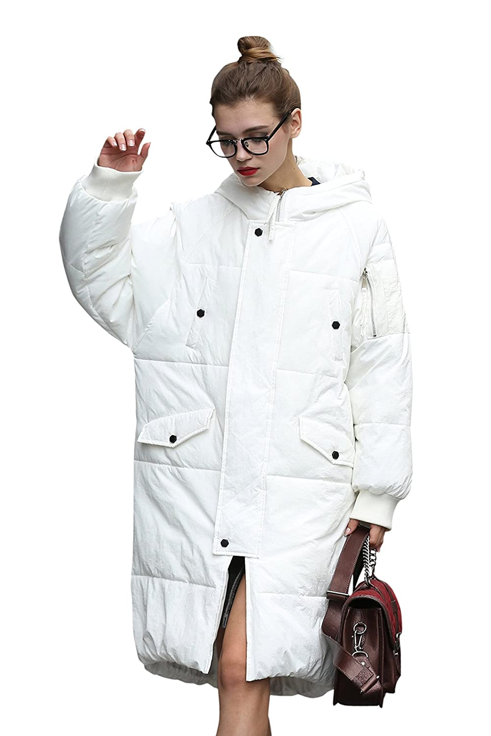 you.u Women Waterproof Stain-Resistant Anorak Winter Long Quilted Coat