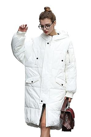 58cb5ab9f723f Manteau Doudoune Femme Blouson Long Blanc Femme Manteau Hiver Capuche Femme  Manteau Grande Taille Chic Femme