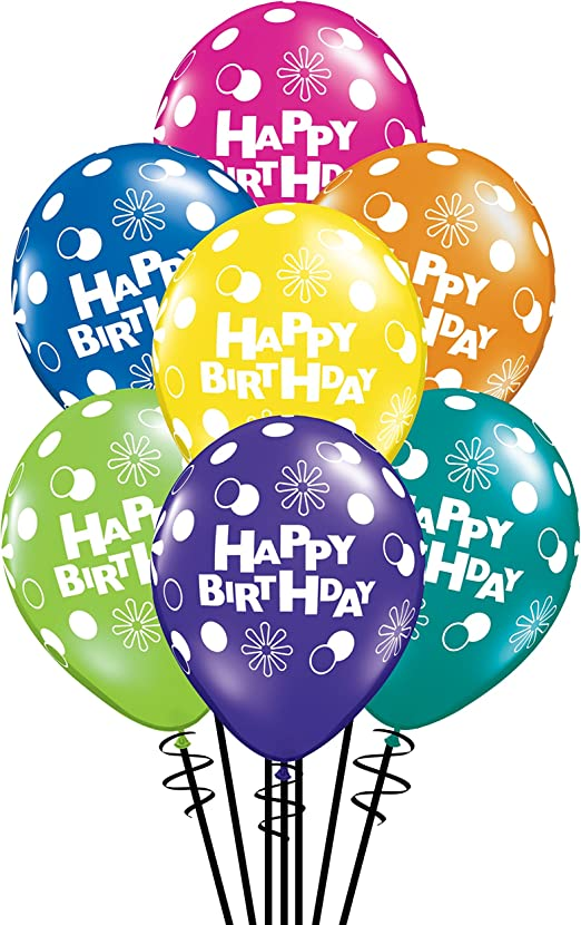 Amazon.com: Feliz Cumpleaños globos de látex Qualatex (, 11 ...