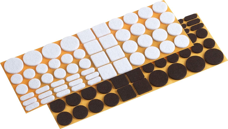Metafranc Filz-Gleiter-Sortiment 110-teilig-selbstklebend-wei/ß Effektiver Schutz Ihrer M/öbel /& St/ühle//M/öbelgleiter-Set f/ür empfindliche B/öden//Stuhlgleiter//Bodengleiter braun 645306