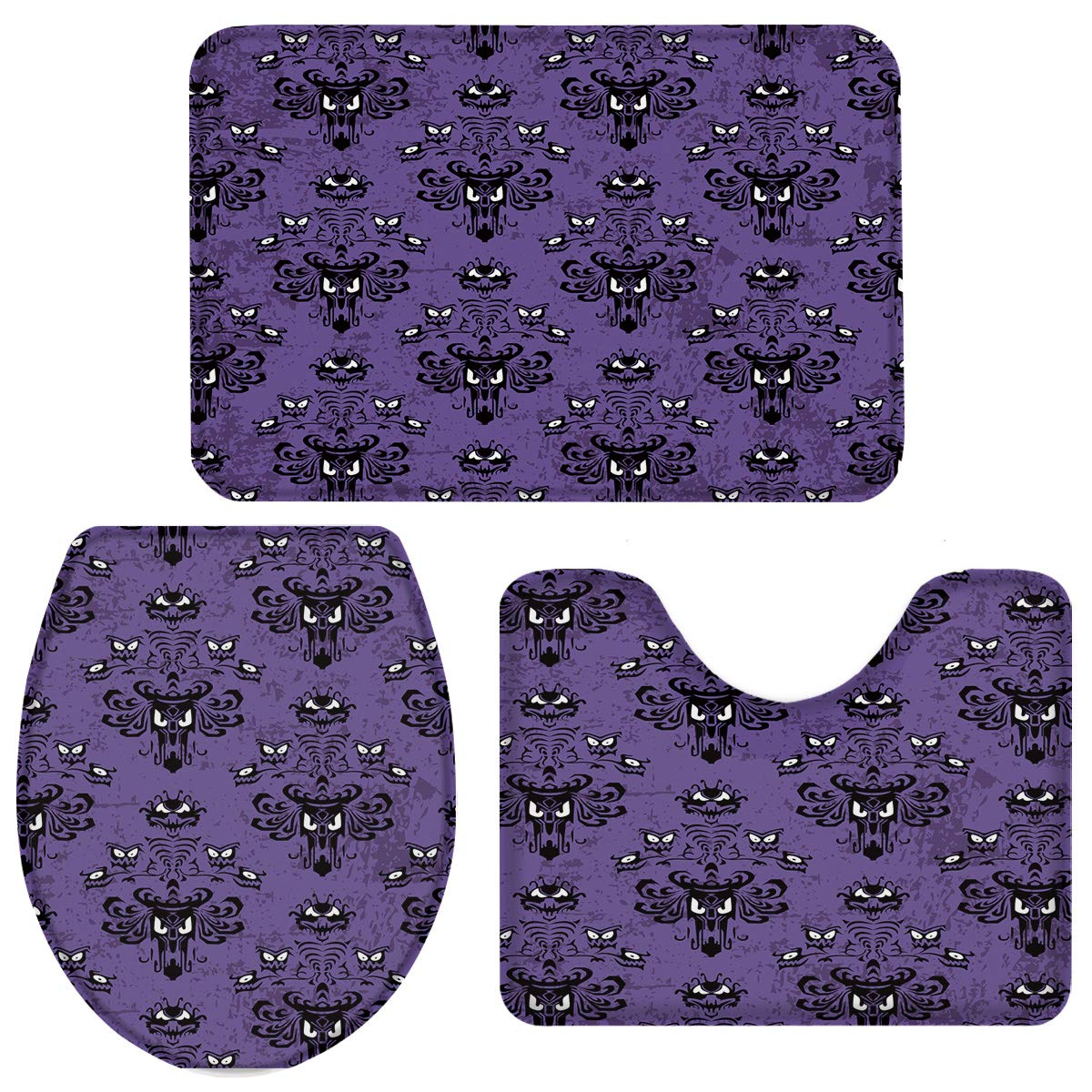 OneHoney 3-Piece Bath Rug and Mat Sets, Halloween Haunted Mansion Ghosts Non-Slip Bathroom Doormat Runner Rugs, Toilet Seat Cover, U-Shaped Toilet Floor Mat