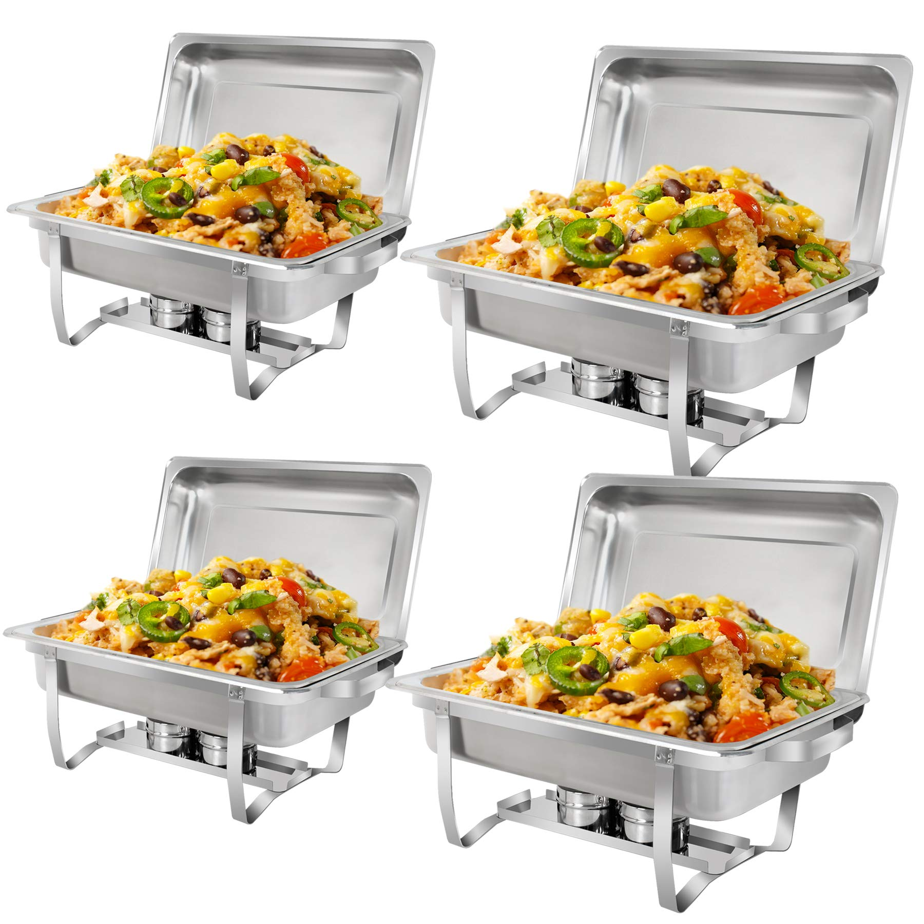 SUPER DEAL 8 Qt Stainless Steel 4 Pack Full Size Chafer Dish w/Water Pan, Food Pan, Fuel Holder and Lid For Buffet/Weddings/Parties/Banquets/Catering Events (4) by SUPER DEAL