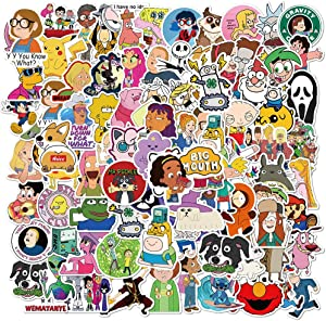 101pcs Mixed Anime Characters Stickers Water Bottles Laptop Hydroflasks Phone Computer Rick and Morty Pokemon Adventure Time Vinyl Sticker Waterproof Aesthetic Trendy Decals for Teens Boys Adults