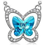 Susan Y Collana Farfalla Blu realizzato con Cristalli Swarovski per Lie Donna Ragazza