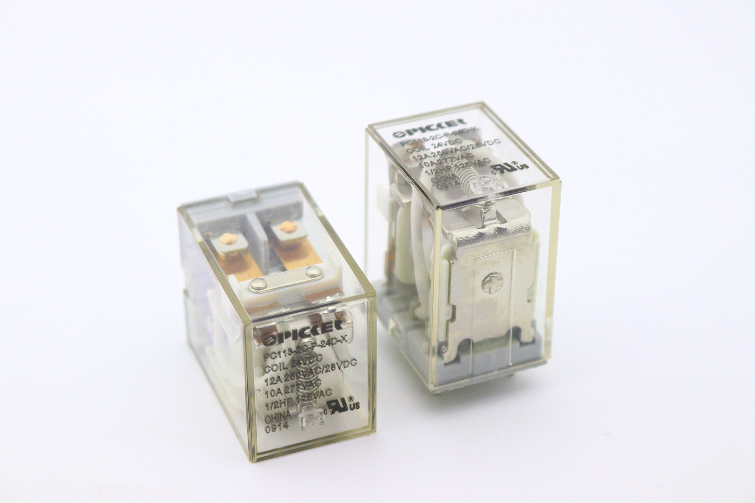(x2) PC113-2C-P-24D-X-2 | DPDT 24 VDC Coil 12 Amp 250 VAC UL Rated, Miniature General Purpose Ice Cube Relay w/PC Pins & Clear Plastic Case | Cross: Song Chuan SCL-1-DPDT-24VDC; Omron LY2-0-DC24