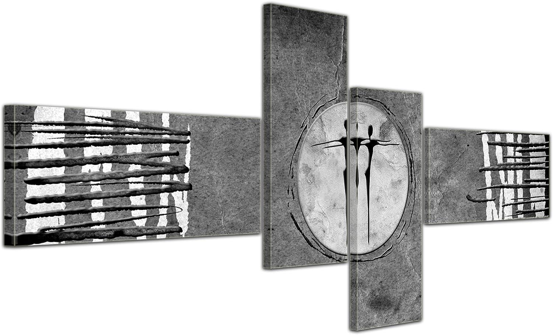 Cuadros en Lienzo - Arte abstracto Abstracto Xa gris - 200x90cm 4 partes - Listo tensa. Made in Germany!!!