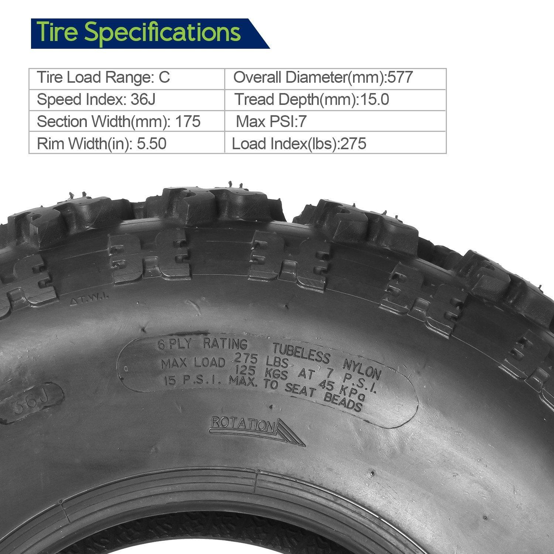Set of 2 Sport ATV Tires AT 23x7-10 23x7x10 23x7x10 6PR Load Range C 36J by MaxAuto (Image #2)