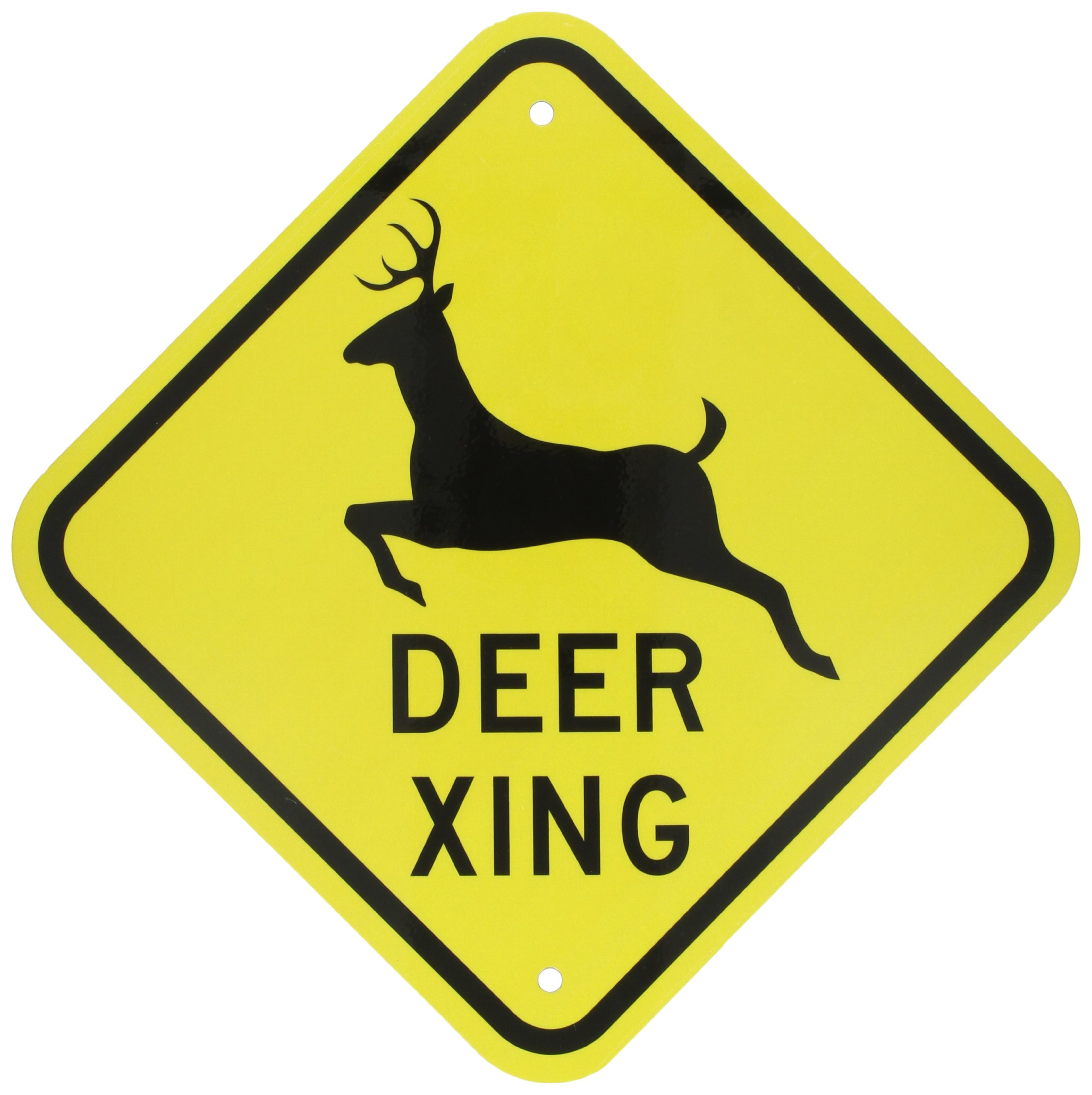 SmartSign 3M Engineer Grade Reflective Sign, Legend''Deer Xing'' with Graphic, 12'' square, Black on Yellow