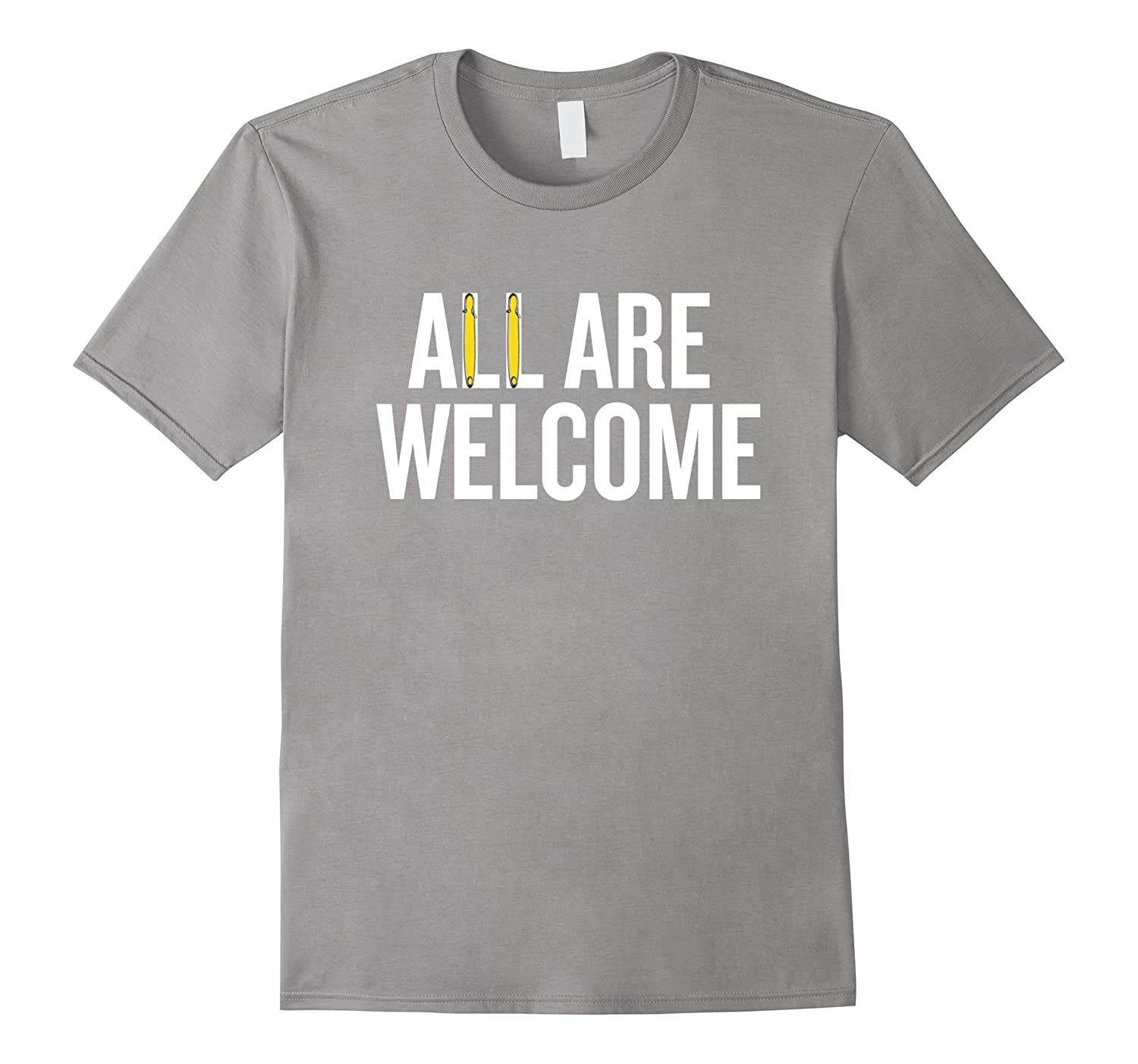 All are Welcome T-shirt with yellow safety pin graphic-FL
