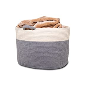 """XXL 20"""" x 13.8"""" Woven Storage Basket for Home, Office, Kitchen, Bedroom & Toddler Playroom Organizer 