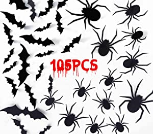 Joy Bang Halloween Spider and Bat Decoration 3D Spider Bats Wall Decals Stickers Decor Scary Spider Bats Stickers Halloween Home Wall Window Decorations