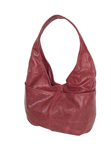 27cfcd339bc9 Amazon.com  Fgalaze Distressed Red Leather Hobo Bag