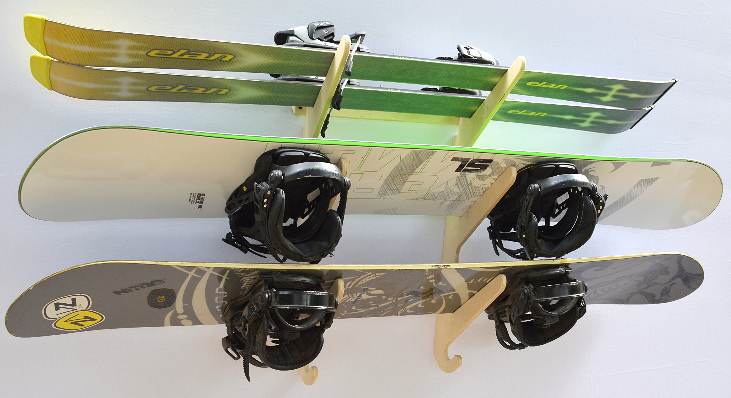 Snowboard Ski Hanging Wall Rack -- Holds 3 Boards