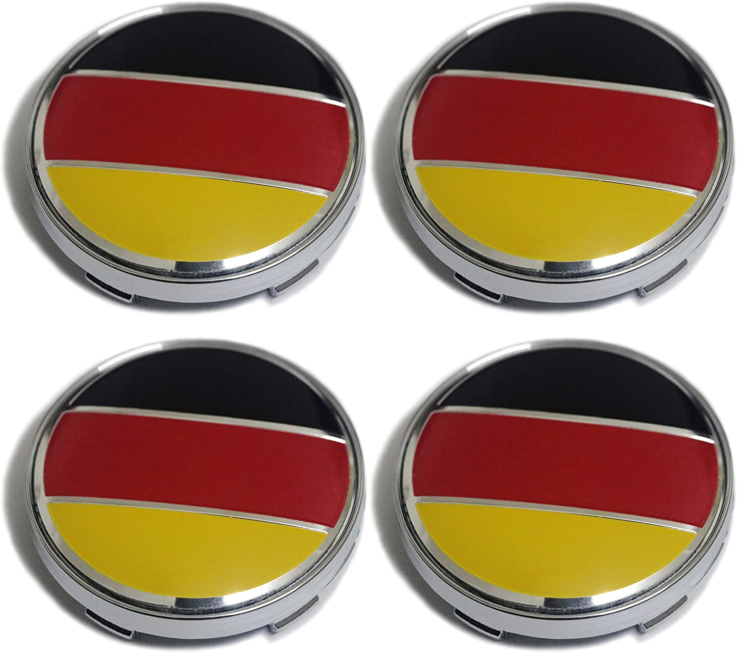 PT-Decors Set of 4pcs 60mm Silver Wheel Center Hub Caps Rim with Coloured UK GB United Kingdom Flag Sticker for Vehicle Auto Car Covers