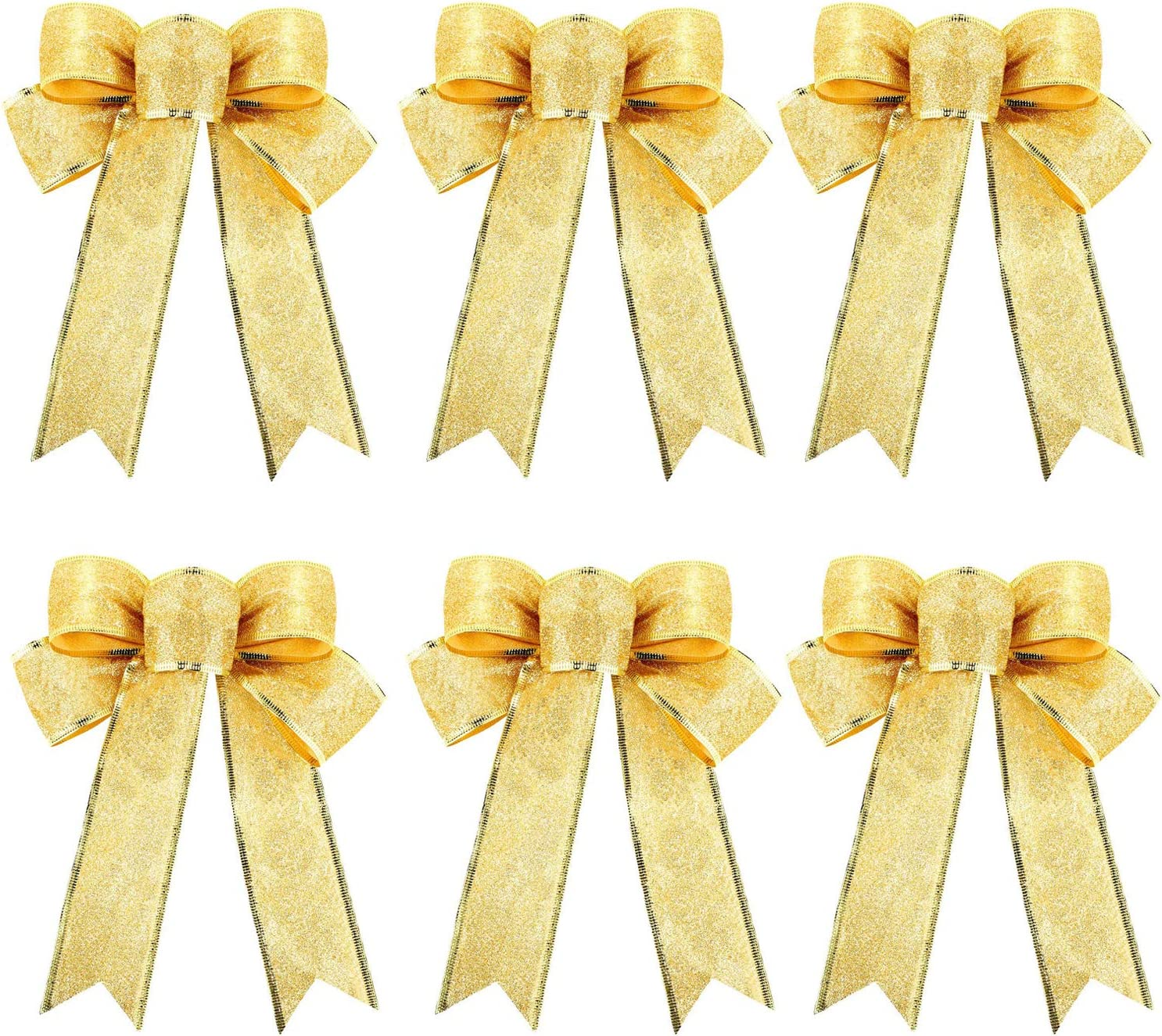 Gold Glitter Christmas Ribbon Bow Tree Wreath Decorations Windows Gifts Hanging Ornaments, 6 pcs