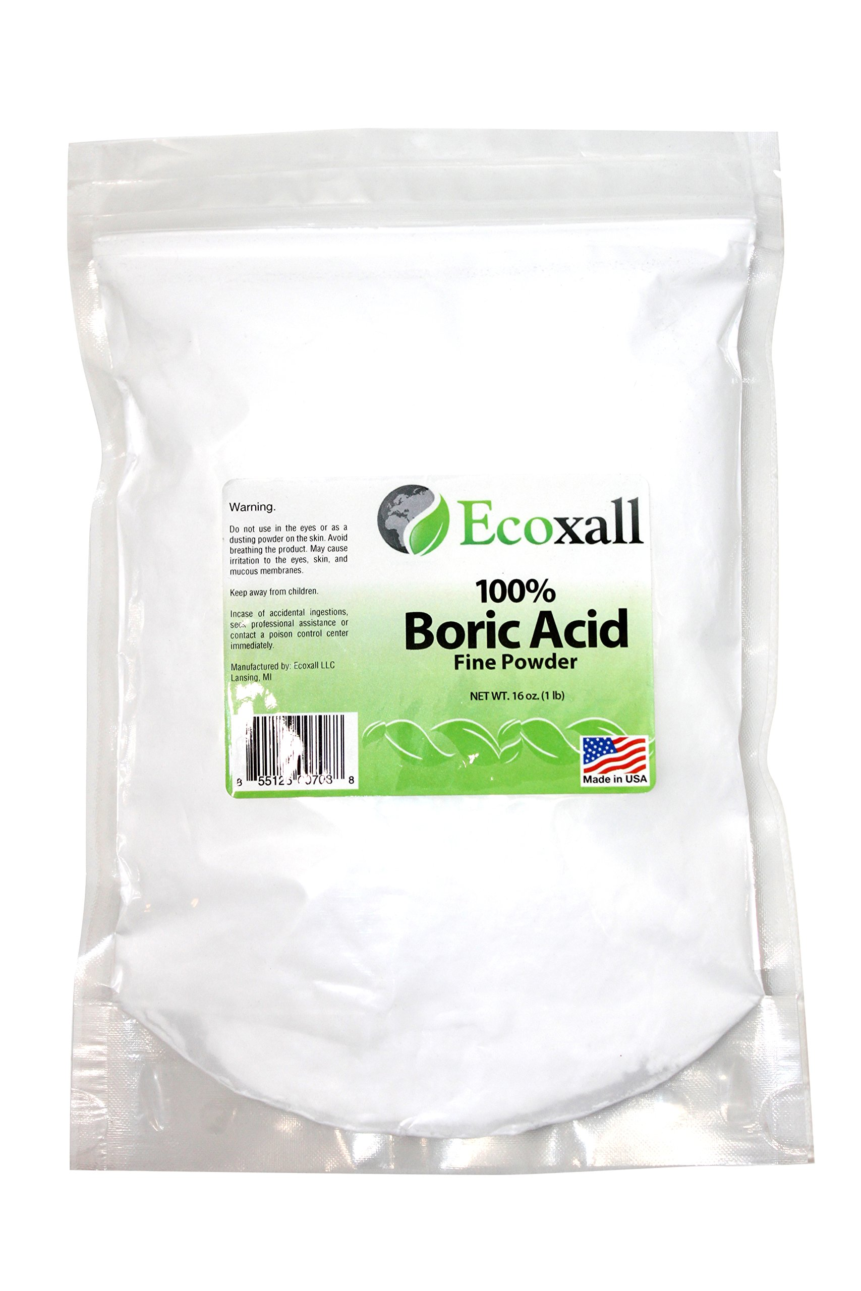 Ecoxall - Fine Powder Boric Acid Powder 99.9% Pure Anhydrous 1 lb. Bag