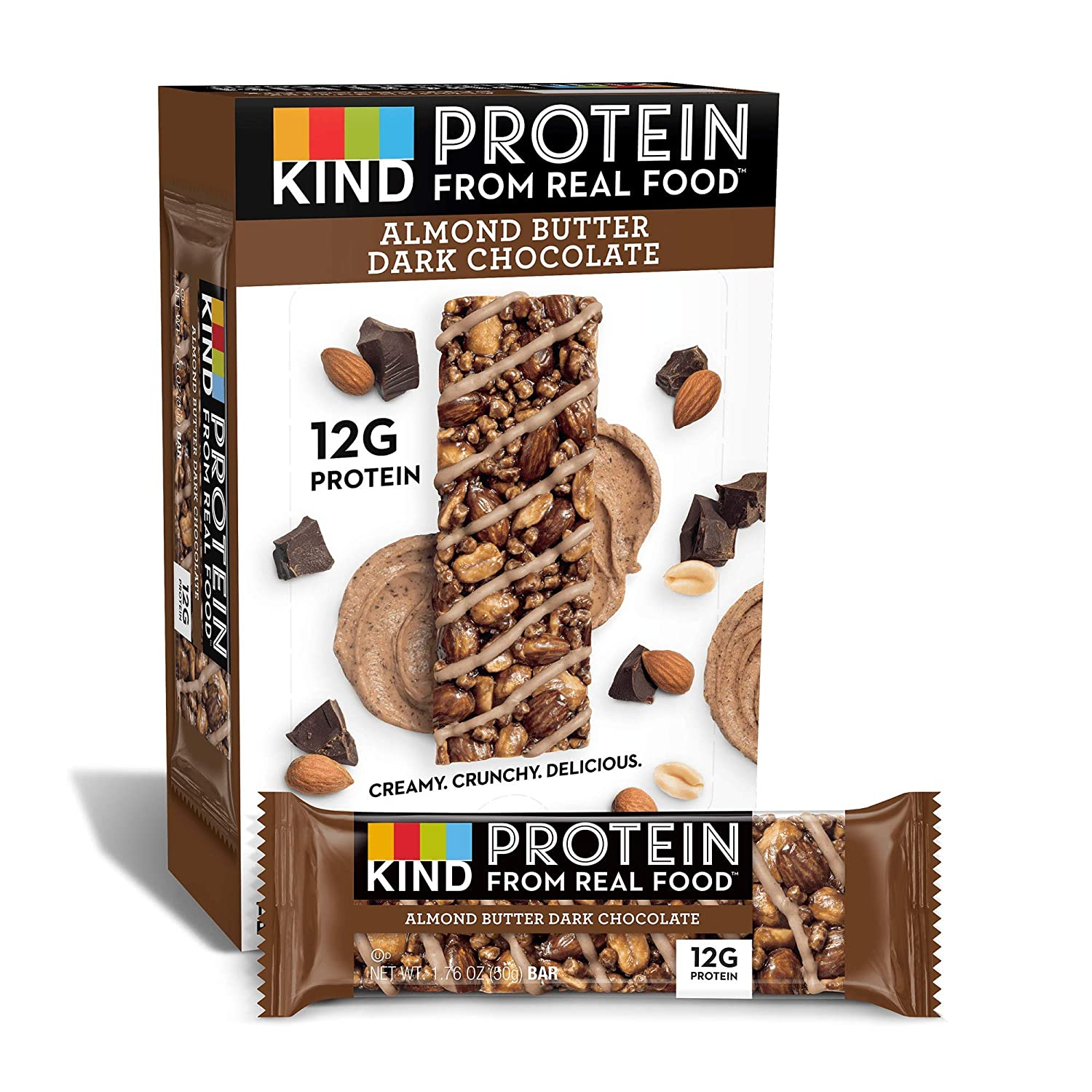 KIND Protein Bars, Almond Butter Dark Chocolate, Gluten Free, 12g Protein, 1.76 Ounce (12 Count)