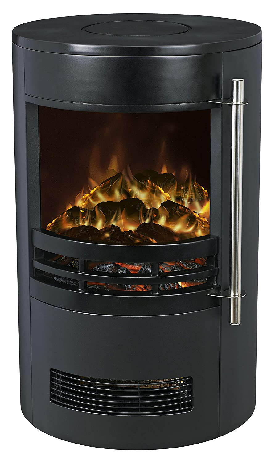 Galleon Fires -'Eris' Electric Stove with 3D Exclusive LED Log Effect -LED Realistic Flame - Round Modern Stove - Portable - Fireplace - with Real Log Flame Effect - Electric Stove Fan Heater - Black Galleon Fireplaces