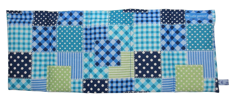 50x20cm Manufaktur W/ärmekissen K/örnerkissen Dinkelkissen Patchwork Blau//Gr/ün Blume ca Kissen Annette R