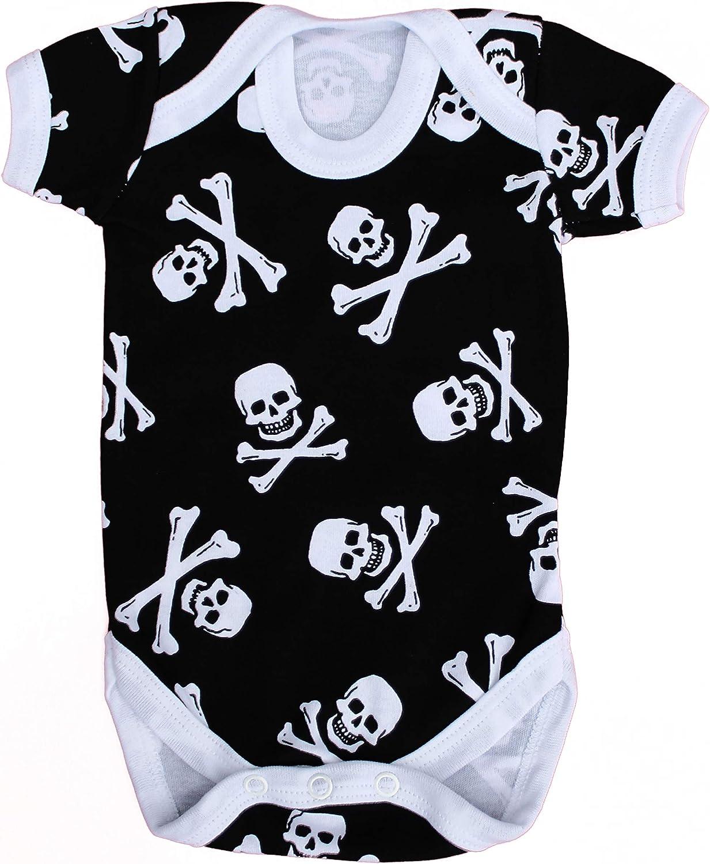 Baby Moo's UK - Chaleco de bebé para niños o niñas, diseño de calavera y huesos cruzados negro negro Talla:3-6 meses
