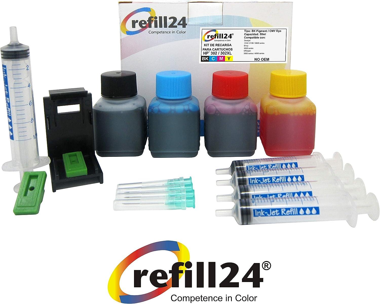Kit de Recarga para Cartuchos de Tinta HP 302, 302 XL Negro y Color, Incluye Clip y Accesorios + 200 ML Tinta: Amazon.es: Electrónica