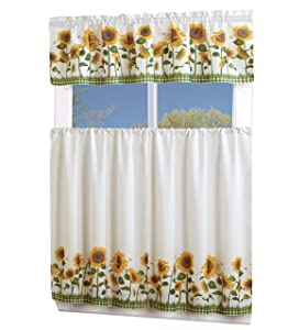 MarCielo 3 Piece Printed Floral Kitchen/Cafe Curtain With Swag and Tier Window Curtain Set, White, Sunflower