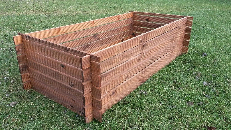 Compostador de madera estable, contenedor de compost, 170 x 85 cm ...