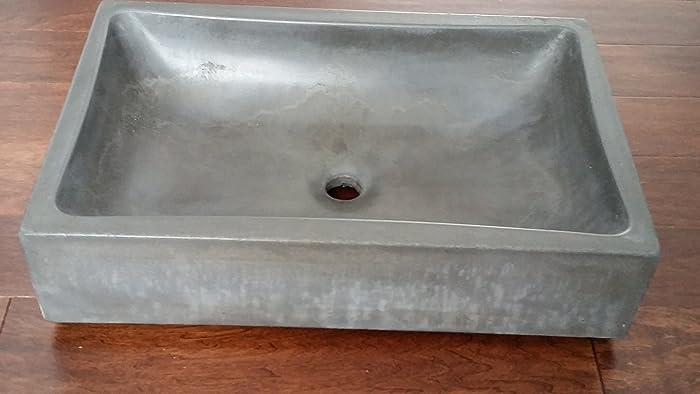 Concrete Rectangle Vessel Sink (Curvy Bowl)