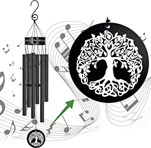 MEMGIFT Wind Chimes Outdoor Deep Tone Large Memorial Windchimes for Loss of Loved One Engrave Tree of Life Sympathy Wind Chimes Gifts for Mother Father Garden Home Yard Hanging Decor Tree of The Life