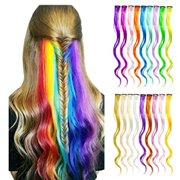Amazon.com : 18 Pcs Rainbow Hair Extensions,