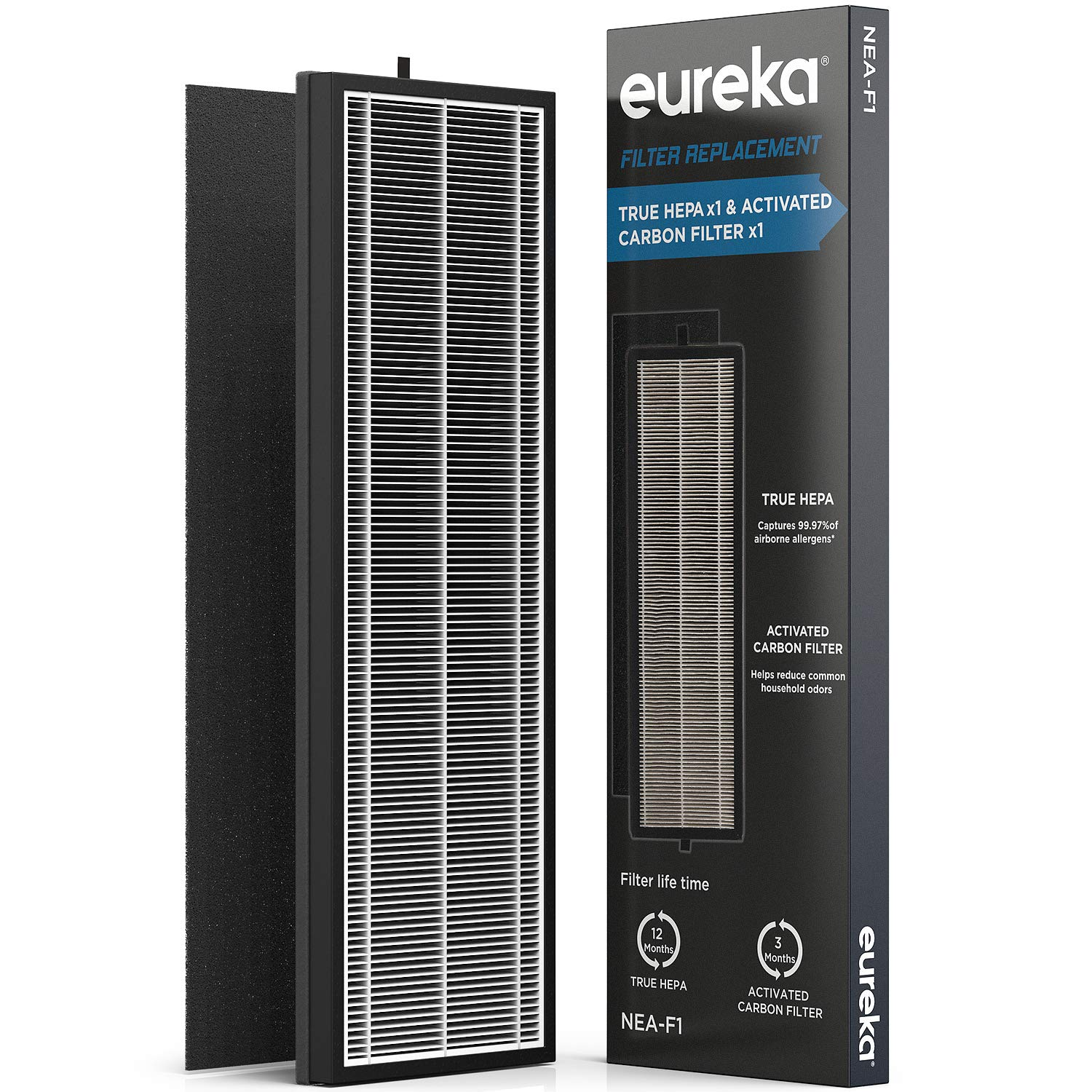 Eureka NEA120 Air Purifier Filter NEA-F1, True HEPA Filter x 1 & Activated Carbon Filter x 1, Replacement for InstantClear NEA120