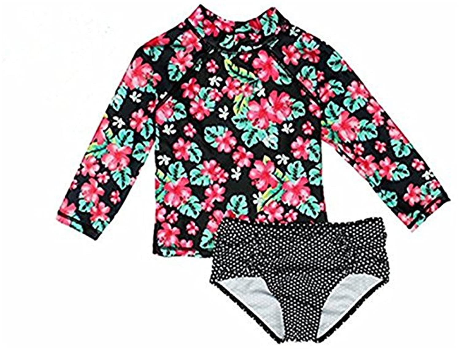 Baby Girls Kids Two Pieces long-sleeve Floral Print Rash Guard UPF 50+ UV Swimsuits