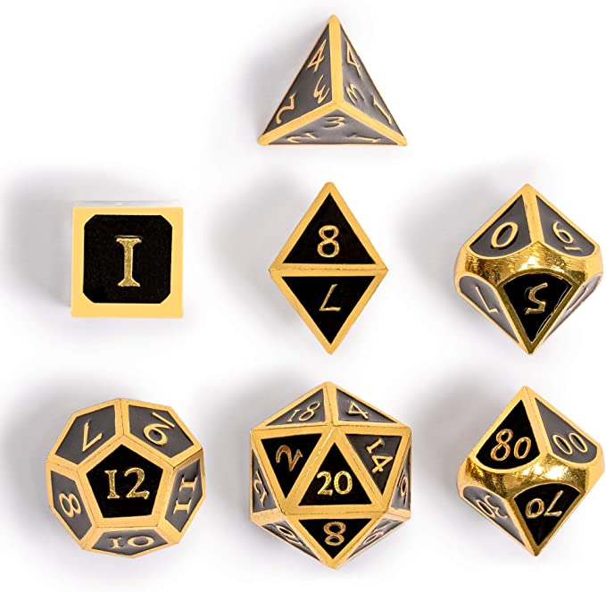 Onyx Yellow Mountain Imports Collectors 7 Gold on Black Metal Dice Set with Storage Case