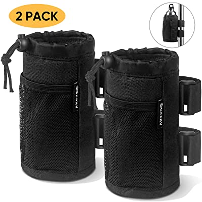 GeaRV 2-Pack Bar Cup Holder for Stroller, Bike and Wheelchair; Universal Cup Holders for UTV/ATV, Car, Scooter, Boat; Drink Holder Accessories with Net Pocket and Cord Lock: Baby