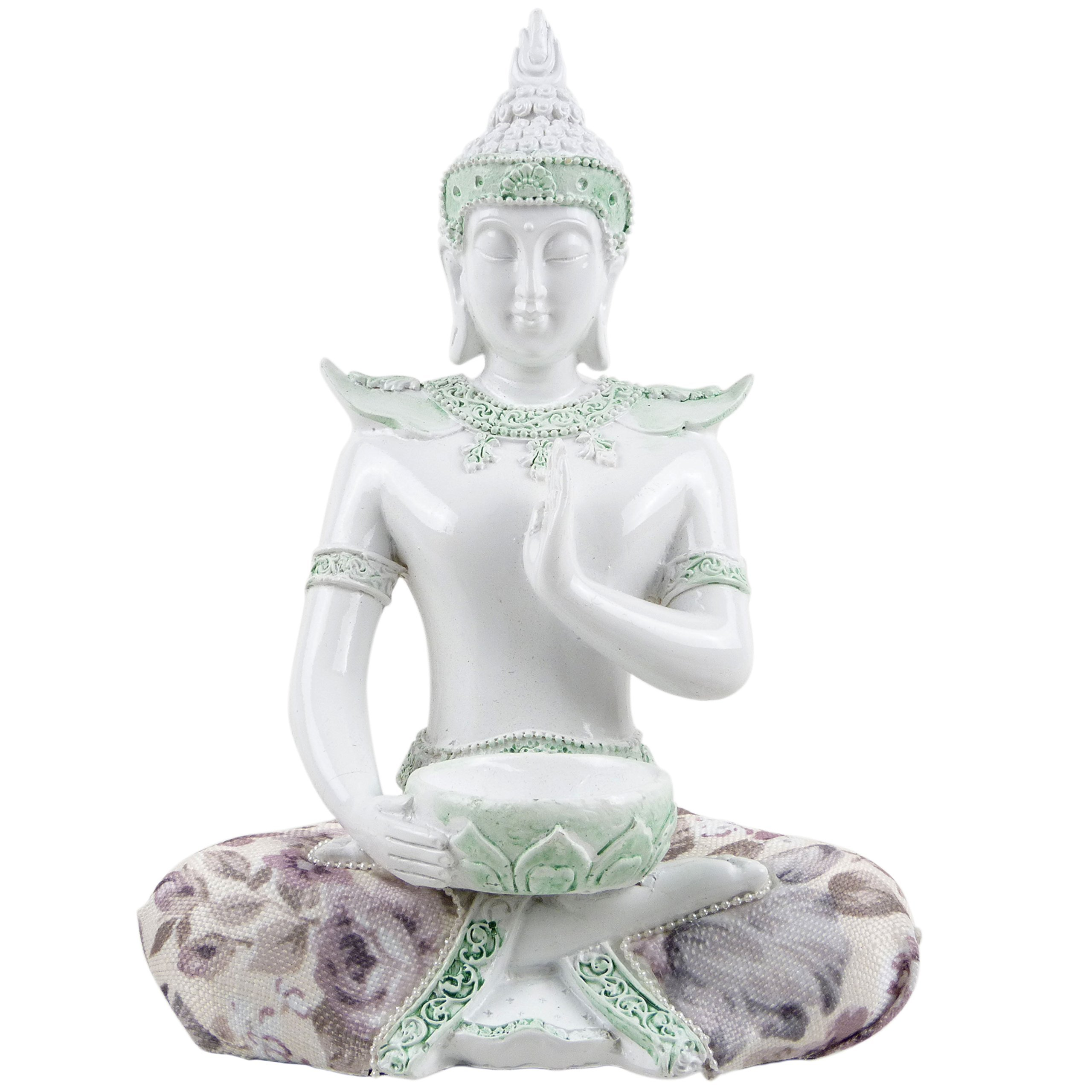 Puckator. White Gloss Thai Buddha Meditation Lotus Alms Bowl Tea Light Holder