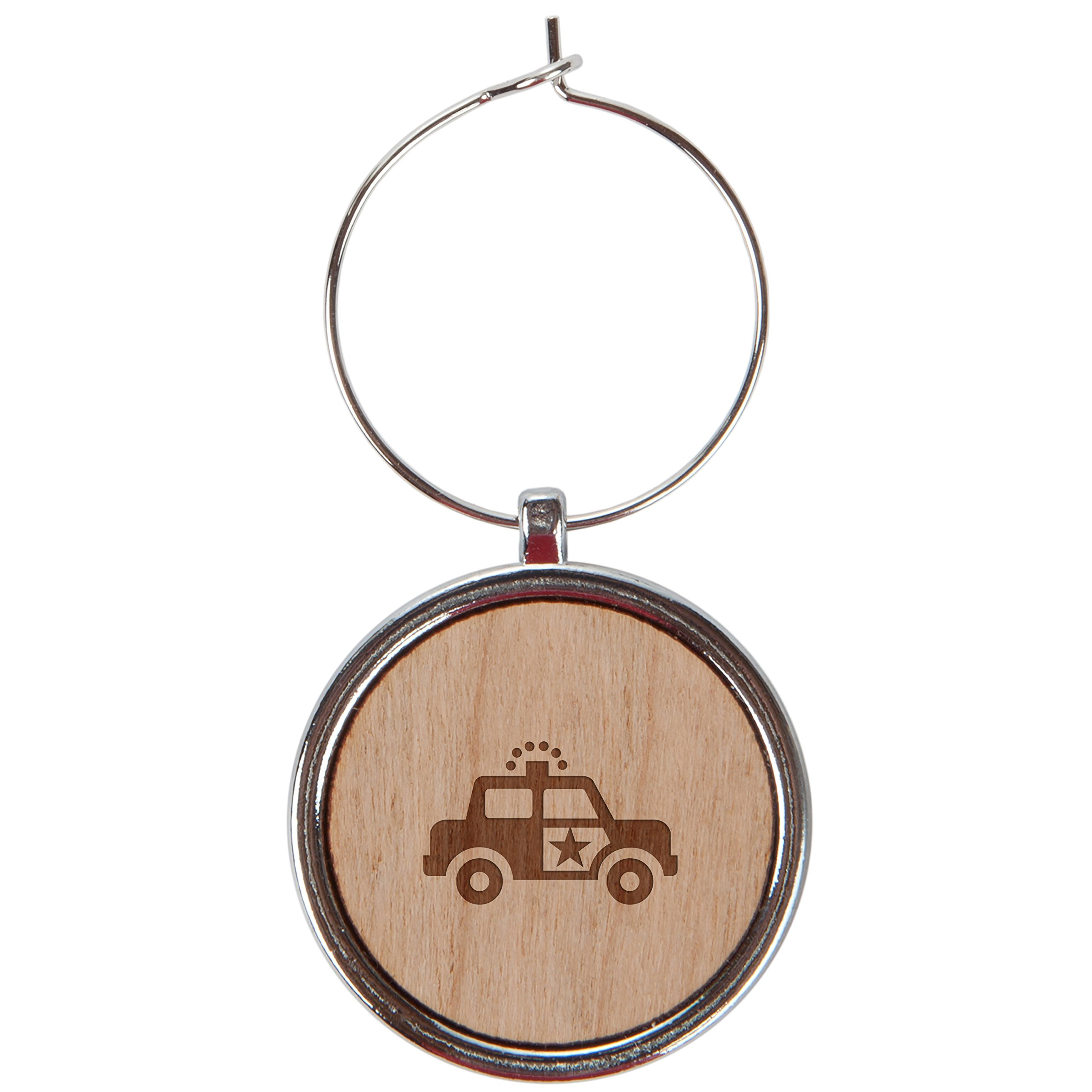 Police Car Wood Wine Glass Charms Set Of 6-1 Inch Laser Engraved Wine Glass Charms For Stemmed Wine Glasses - Wine Glass Charm Gift