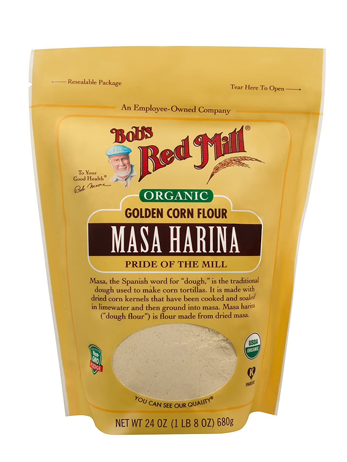 Amazon.com : Bobs Red Mill Organic Masa Harina Flour, 24-ounce (Pack of 4) : Grocery & Gourmet Food