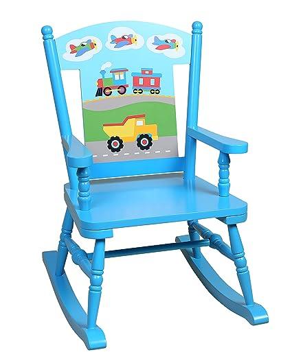 blue rocking chair. wildkin olive kids trains, planes, trucks rocking chair, blue chair