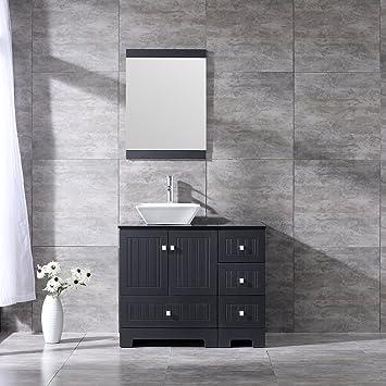 BATHJOY 36u0026quot; Black Bathroom Vanity Cabinet Single Square Ceramic Vessel  Sink Top Faucet Drain With