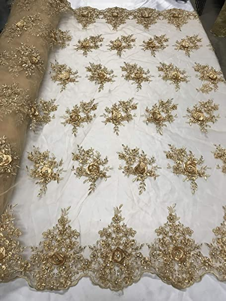 wedding dress Champagne lace fabric beautiful embroidery lace flower for girl dress table runner