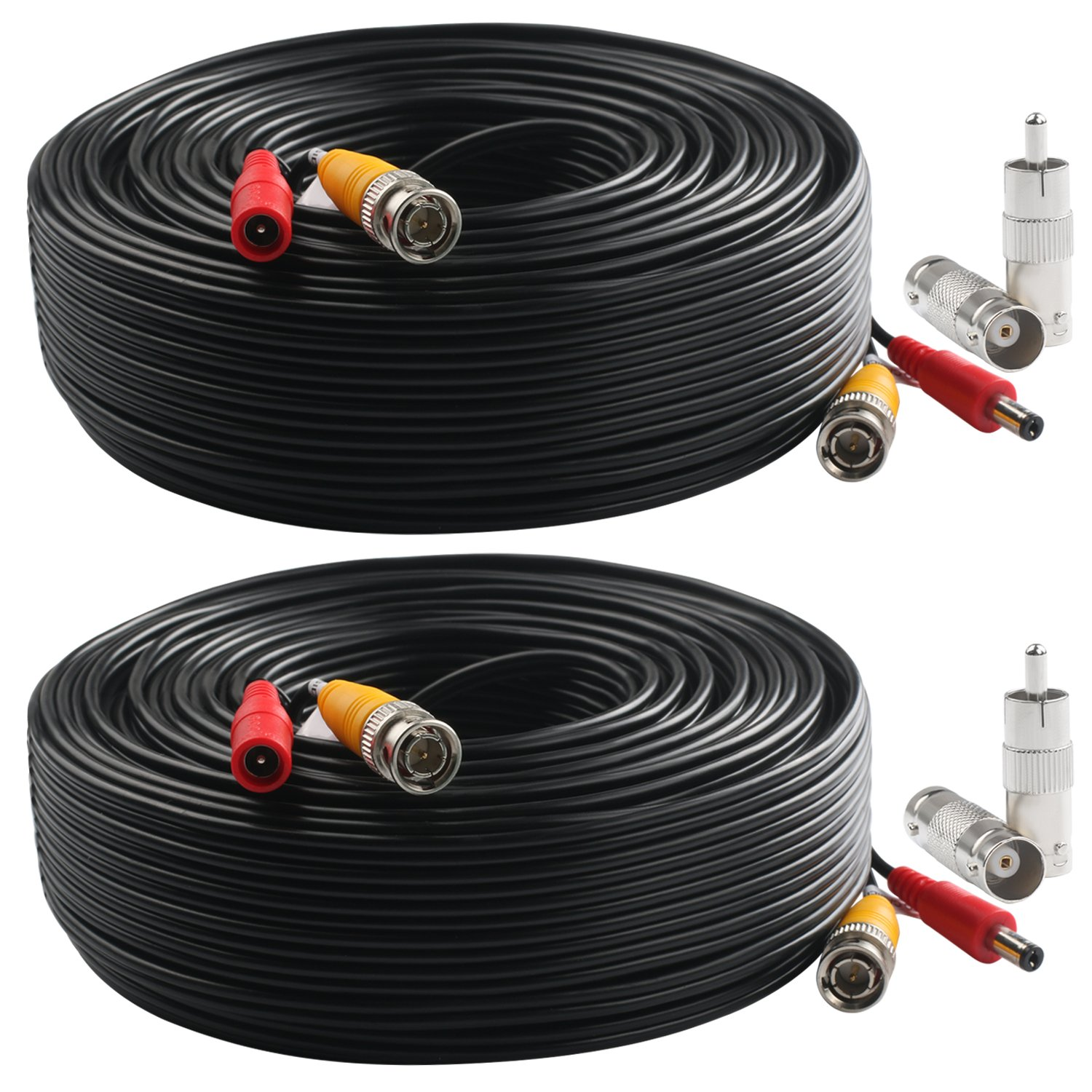 Postta BNC Video Power Cable (2 Pack 150 Feet) Pre-made All-in-One Video Security Camera Cable Wire with Four Connectors for CCTV DVR Surveillance System