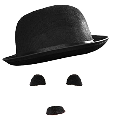 Image Unavailable. Image not available for. Colour  CHARLIE CHAPLIN FANCY  DRESS COSTUME SET BOWLER HAT ... b15563551ac