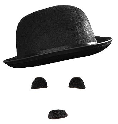 5dc3c42d654d3 CHARLIE CHAPLIN FANCY DRESS COSTUME SET BOWLER HAT + BLACK EYEBROWS +  MOUSTACHE SILENT BRITISH COMIC MIME FILM MOVIE STAR 20S 30S  Amazon.co.uk   Clothing