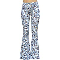 Daisy Del Sol High Waist Gypsy Comfy Yoga Ethnic Tribal Stretch 70s Bell Bottom Flare Pants