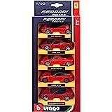 Bburago 18-36005 - Collezione Ferrari, Pacchetto di 5 Macchinine R&P, Scala 1:43, Modelli Assortiti